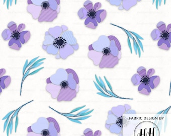Paper Flower Fabric By The Yard - Pinstripe Purple Paper Flowers and Leaves Crafting Quilting Print in Yards & Fat Quarter