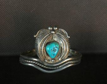 Vintage Sterling Silver Turquoise Leaf Cuff Bracelet - Native American Navajo Handmade - Southwestern - Ellen Myrtle
