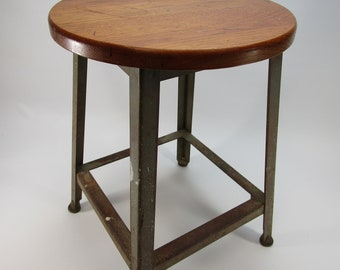 Vintage industrial short wood and metal stool