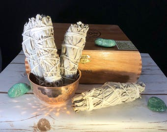 """5-6"""" California white sage, smudge stick, cleanse, purify, protection, meditation, ritual"""