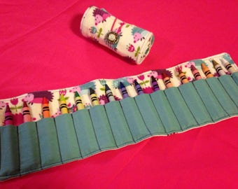 Crayon Roll Up Holder Case Hedgehogs Flowers Handmade Holds 16 Crayons