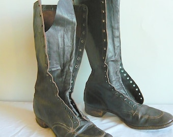 Vintage 50s Flat Oxford Boots..Genuine Leather Lace-up Riding Boots .VICTORIAN VICKY..size 10.5 eu 41-42