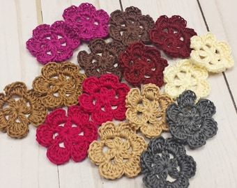 Crochet Flower Appliques, Set of 16 Hand Crocheted Flowers, 6 Petal Flower Embellishments, 1.5 inch Flower Pieces