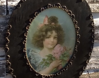 Antique Victorian Framed Litho of Little Girl With Pink Roses, 1800s. Shabby Black Wood Frame w Gesso Seashell Designs.
