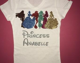 Princess birthday shirt disney princesses glitter birthday princess shirt