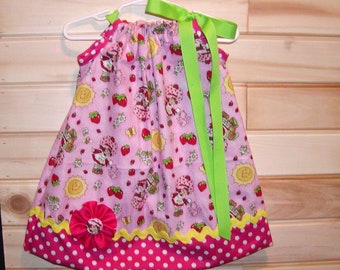 Strawberry Shortcake Inspired Pink...Girls Pillowcase Dress Sizes 0-6, 6-12, 12-18, 18-24 months, 2T, 3T..Bigger sizes AVAILABLE