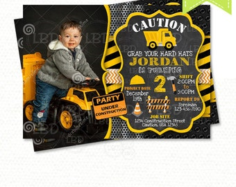 Construction Birthday Invitation, Dump Truck Invitation, Chalkboard Invitation - Style 4 - YOU PRINT