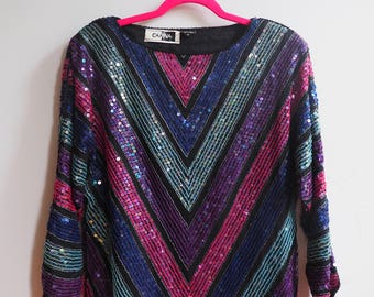 Sequined Beaded 1980s Batwing Dolman Sleeve Silk Top