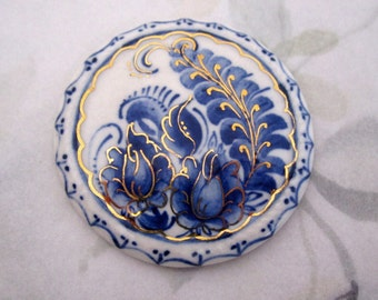vintage Russian hand painted porcelain blue and gold flower floral signed Russia hallmark brooch pin - j5908