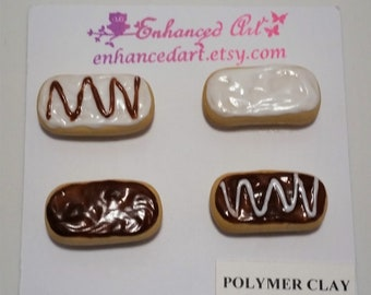 Donut magnets: set of 4/long john donut magnets/Polymer clay magnets/Magnet set/Refrigerator magnet/polymer clay donuts