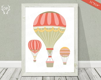 Hot air balloons | Print art | Nursery wall art | Baby girl pinky cream room decoration | Instant download