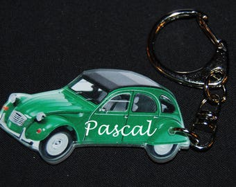 Keyring photo of a 2 cv citroen green name or text customized