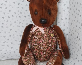 Personalised gift MIHEL TEDDY BEAR, choose your name to be embroidered on his belly
