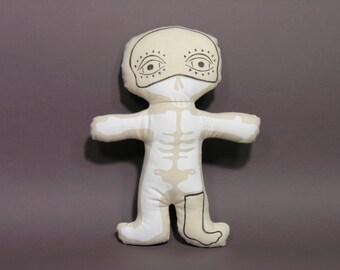 40% OFF Skeleton Boy Stuffed Art Doll - Skull Doll - Handmade Masked Doll - Hand Painted Art Doll - Handmade Rag Doll - Unique Home Decor