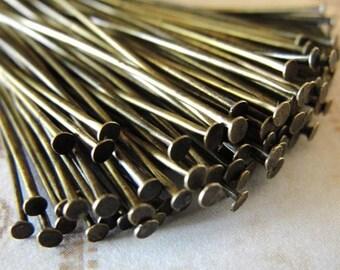 100 pcs  Antiqued Brass Headpins, Brass, Flat Head Pins, 2 inch,  21 gauge  HP7515