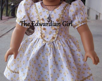 OOAK 1930s and 1940s easter chick yellow print gold ric rac dress for 18 inch play dolls such as American Girl, Springfield, OG. Made in USA