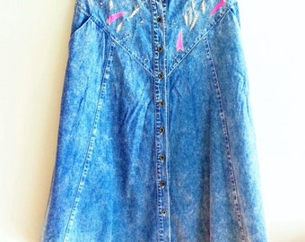 Long Beaded Denim Button Skirt~ 90's~ Vintage Denim ~ Vintage Kitsch Hipster~ Large~ Grunge Style~ Boho Skirt~ Lightening Fabric~ Gypsy