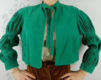 VINTAGE GREEN SHIRT 1950s Corduroy Gathered Sleeves Catalina Size Extra Small