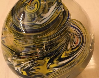 Art Glass Paperweight -  Green, Blue and Yellow Swirl