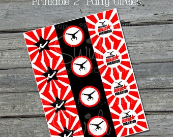 Ninja Cupcake Toppers - Ninja themed party circles - red and black gymnast party - Instant Download