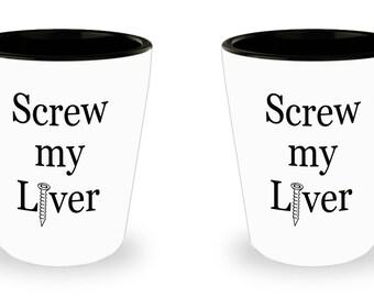 Screw You Liver Shot Glasses Set of 2 Funny Liver Shot Glass Matching