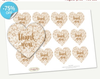 "75% OFF SALE Printable Favor Tags ""Lacy Heart"", Printable Thank You Tag, Cupcake Toppers, Printable Supplies, Stickers, INSTANT download"