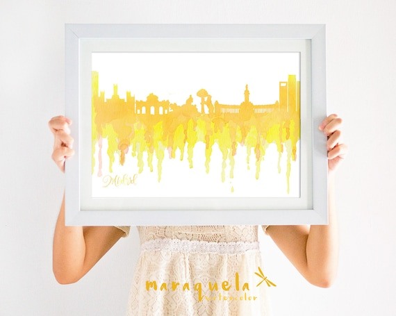 MADRID Skyline Spain, YELLOW hues illustration in watercolor, skyliner Marid trip Spain artprint, poster gift decoration city España Espagna