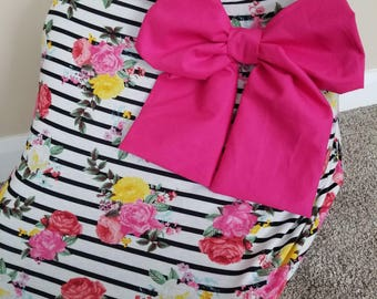 Car seat Cover Nursing cover Shopping Cart Cover 3 in1 stretchy carseat cover with Large bow carseat canopy