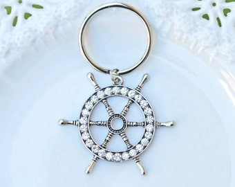 Ship Wheel Keychain, Nautical Keychain, Ship Wheel Rhinestone Keychain, Silver Keychain, Silver Ship Wheel Keychain, Key Accessories