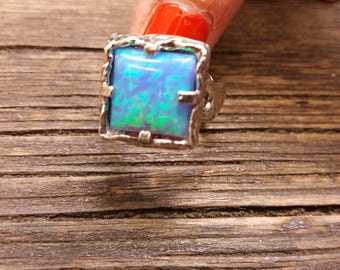 Blue Opal Ring - Sterling Silver Ring - Handmade Ring - Gemstone Ring - Inspiration ring - Blue Opal - Boho Ring - Statement Ring