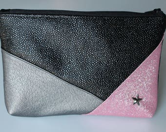 Geometric black and silver and pink glitter clutch