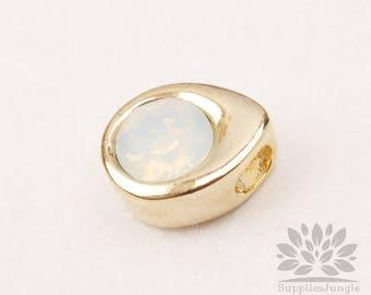 P882-10-G// Birthstone Series// Gold Plated Teardrop Swarovski Opal October Birthstone Pendant, 1pc