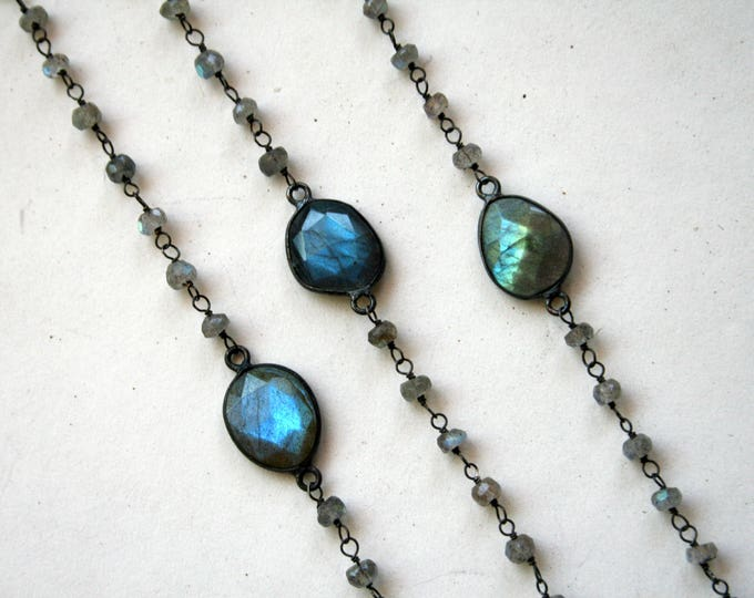 Labradorite Beaded Choker Sterling Silver Necklace