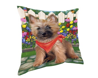 Spring Floral Cairn Terrier Dog Throw Pillow