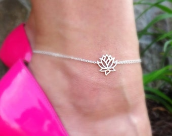 Lotus Anklet, adjustable Anklet, lotus jewelry, yoga jewelry,Beach jewelry, zen jewelry, sterling silver anklet, yogi ankle bracelet, otis b