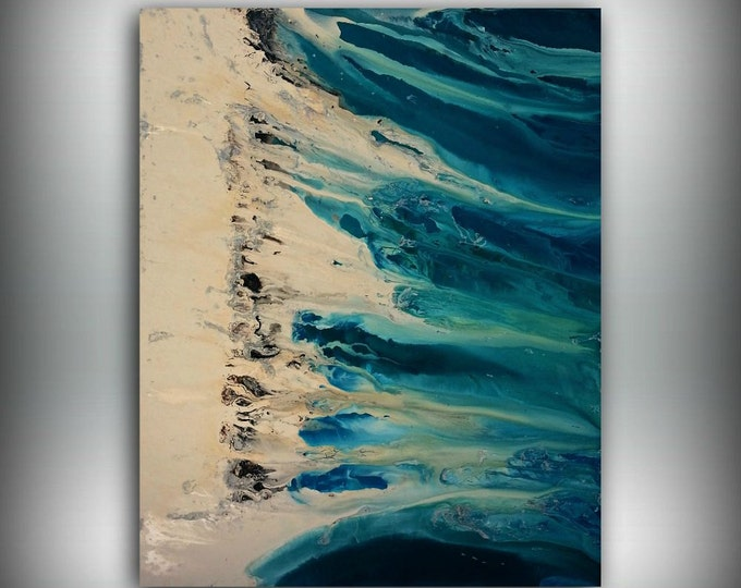"""Art Painting Teal Painting Large Paintings Abstract XL EXTRA LARGE Wall Art / Wall Hanging Home Decor on Canvas by LDawningScott 48 x 60"""""""