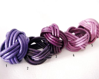 shades of purple braided leather ring