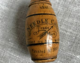 Antique Made-in-Germany Wooden Needle Storage Case / ETUI, Sewing, Needlework, Collectible, German, Vintage, Wood, Container, Holder