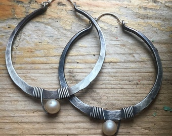 Sterling Silver Hoop Earrings /  Large Hoops /  Hammered Hoop Earrings / Silver Hoops / DanielleRoseBean Big Hoop Earrings / Silver Hoops