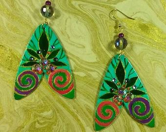 Art Nouveau Handpainted Earrings withSwarovski Crystals