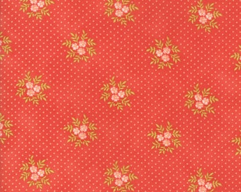 Fig Tree Fabric - Ella and Ollie Fabric Yardage - Moda Quilt Fabric - Red Floral Dot Fabric By The 1/2 Yard