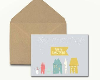 Merry Christmas Houses Holiday Cards