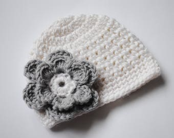Crochet Baby Hat, Newborn Beanie, Baby Girl Hat, Newborn Flower Hat, Crochet Hospital Hat, Newborn Crochet Hat, Baby Beanie, Coming Home Hat