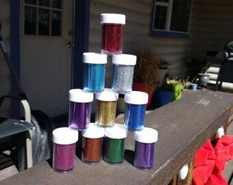 Non Toxic Glitter / approximately 11gr. / scrapbook glitter - green, blue, silver, red, purple, orange, gold, pink