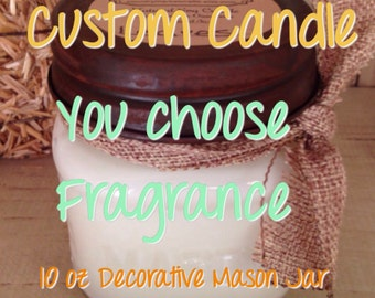 Custom Soy Wax Mason Jar Candle - You Choose Scent- Mother's Day Gift