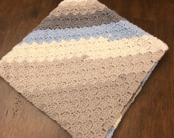 Diagonal stripe baby blanket