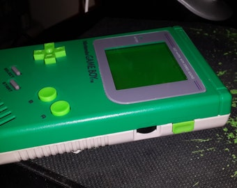 Customized/Modded Green/Gray Game Boy DMG-001 with Green Back-Light