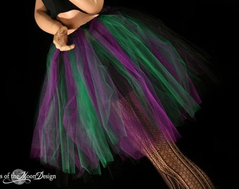Streamer knee length tutu skirt  purple black and green  adult--You Choose Size
