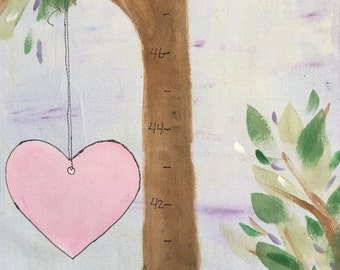 Hand Painted Grow Chart, To Be Custom Made, Fabric Banner, Personalized Growth Tree