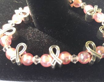 Breast Cancer Awareness Stretch Bracelet with Swarovski Crystal Accents